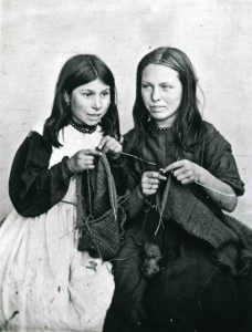 Two young Polperro girls, Mary Jane Langmaid and Elizabeth Jolliff knitting