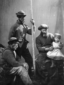 Charles Jolliff (1808 - 1887) and Polperro fisherman Jim Curtis, holding his daughter kate, born in 1874